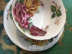 Aynsley Three Cabbage Rose Tea Cup And Saucer Set