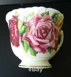 Aynsley Triple Cabbage Rose Teacup and Saucer Set Red Yellow Roses Tea Cup RARE