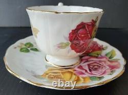 Aynsley Triple Cabbage Roses Teacup and Saucer Set Vintage England Huge Rose