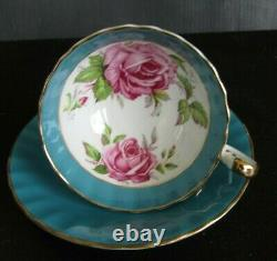Aynsley Turquoise Cabbage Rose Teacup and Saucer Set Vintage Roses England