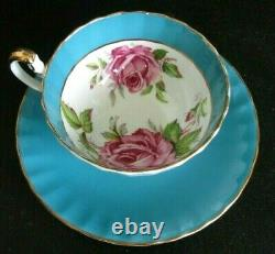 Aynsley Turquoise Cabbage Rose Teacup and Saucer Set Vintage Roses England RARE