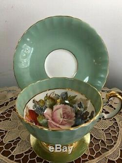 Aynsley sage green gold, signed JA Bailey rose tea cup&saucer set