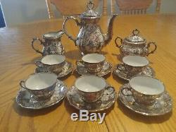 Bareuther Bavaria Silver Floral Mini Tea Cup Set RARE and beautiful