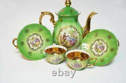 Bavaria German Collectible Fragonard Hand Painted Porcelain Tea Coffee Set