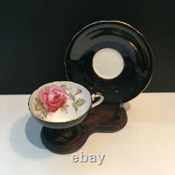 Beautiful Black Aynsley Tea Cup & Saucer Set With Pink Cabbage Rose Cs48