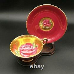 Beautiful Paragon Burgundy/ Gold Floating Cabbage Rose Tea Cup & Saucer Set Cs47