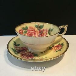Beautiful Paragon Cabbage Rose Tea Cup & Saucer Set Yellow Inside Cs46