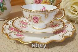Beautiful Royal Crown Derby Pinxton Roses English Teacup Trio Set