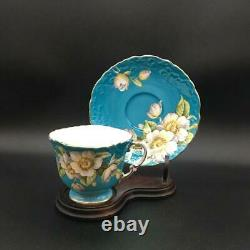 Beautifully Crafted Aynsey Dogwood Tea Cup & Saucer Set Turquoise Cs49