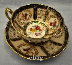 Black and Gold Chain Leaf Design with Florals Paragon Tea Cup and Saucer Set
