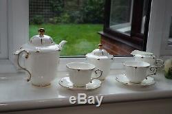 Bone China Classic Gold Rim Coffee Tea Set Cup Teapot Sugar Creamer Pot