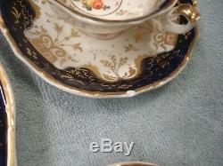 Ca 1820 COALPORT Cobalt Blue SET OF 6 TEA CUP & SAUCER+2 with PLATE English Made