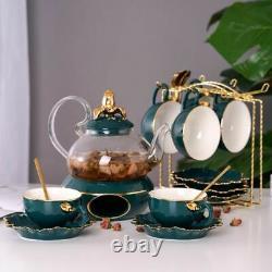 Ceramic Glass Teapot House Kitchen Brew Coffee Tea Kettles Cups Saucer Pots Set