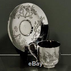 Chinese Export Silver Tea Set CUP & SAUCER c1890 KH, Shanghai