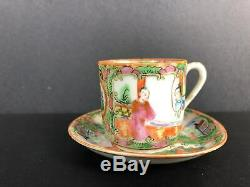Chinese Rose Medallion Teapot and Eggshell Teacup Set 19th C