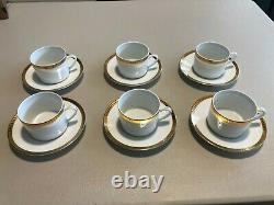 Christofle Malmaison Gold Tea Cup and Saucer Pure Gold Border SET OF 6