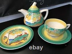 Clarice Cliff Bizarre Secrets Teapot, Cup Saucer & Tea plate set