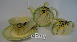 Clarice Cliff Part Tea Set Stamford Shape, Teapot, Milk Jug, Cup & Saucer 1935