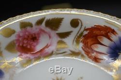 Coalport English 1820's Hand Painted Flowers & Gold Tea Cup & Saucer Set (1577)