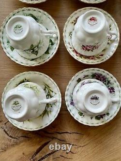 Complete Royal Albert Flowers of the Month Teacup and Saucer Set