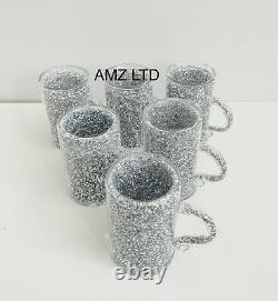 Crushed Diamond Crystal Filled Mugs Set Of 6 Silver Kitchen Tea Coffee Cups