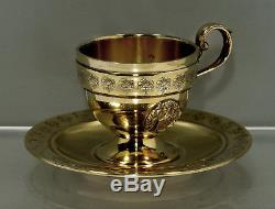 Currier & Roby Sterling Tea Set Cup & Saucer c1920 NEW YORK
