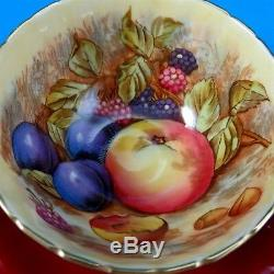 Deep Red with Fruit Center Signed D. Jones Aynsley Tea Cup and Saucer Set