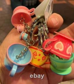 Disney Parks Exclusive Alice In Wonderland Tea Cups Keychains Set Of Five (New)