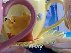 Disney Tea Coffee Set Winnie the Pooh Tigger Piglet Eeyore Flower Saucer Cup NEW