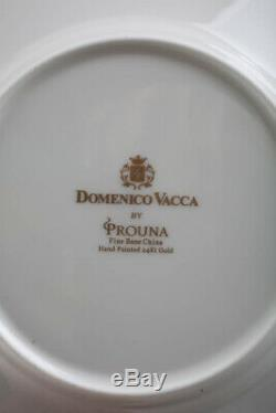 Domenico Vacca By Prouna Alligator White Tea Cups & Saucers Bone China Set Of 6