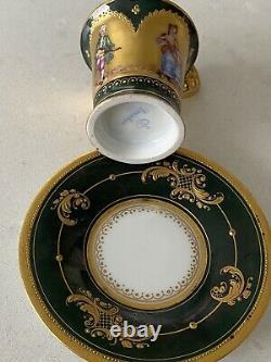 Dresden Antique Portrait Heavy Gold Gilded Espresso Demitasse TeaCup Saucer Set