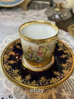 Dresden Cobalt Blue Raised Gold Demi Tea Cup Saucer Set HP Couple Romantic Scene