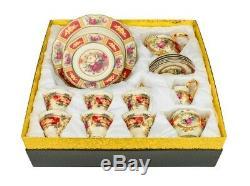Euro Porcelain 24pc Roses Tea Cup Set Antique Red, 24K Gold Vintage Dining for 6