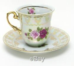 Euro Porcelain 29-pc Pink Red Roses Tea Cup Coffee Set Service for 12 24K Gold