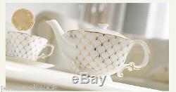 European Style Classic Elegant Ceramics Coffee Cup/Tea Pot 15 Pieces Set M-1