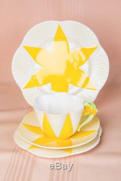 Extremely Rare Shelley Dainty Yellow Star Floral Flower Handle Quad Tea Cup Set