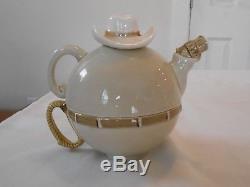 FF Japan Fitz Floyd 1977 Cowboy Teapot & Cup 2 Creamers 2 Sugar Bowls Tea Set