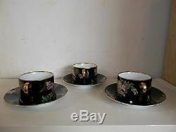 FITZ & FLOYD Cloisonne Peony Black Set of 7 Flat Tea Cups & Saucers Set 1984-96