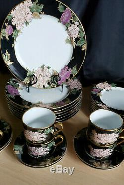 Fitz & Floyd Cloisonne Peony 32PC Set, Dinner & Salad Plates, Teacup & Saucers