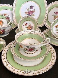 Foley China Tea Set Teaset Tea Cups Trios Tulips Roses Flowers 15 Items