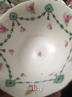 Foley Wileman Handpainted Shelley Tea Cups Roses Garlands Tea Set 29 Items READ