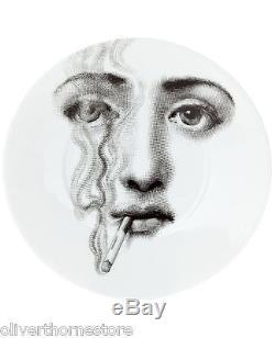 Fornasetti Italy Julia Black & White Tea 12 Piece Set / Tea Cups & Saucers NEW