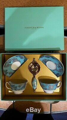 Fortnum & Mason Butterfly High Tea Cups, Saucers & Tea Strainer Set of 2