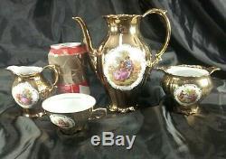 French Coffee Tea Set Porcelain Cup Saucer Fragonard Gold Dinnerware Bavaria