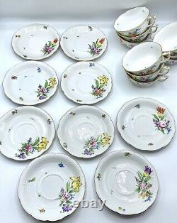 Gorgeous Herend Printemps Tea Cup & Saucers Set of 9, Hand Painted Bone China