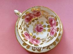 Grosvenor Jackson Gosling Swansea Cabbage Rose Pink Gold Teacup Set Duo Vintage