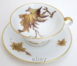 HEINRICH ZEITNER Hand Painted Tea Cup Saucer Set Gold Bronze Leaves Bavarian