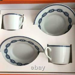 HERMES 002716P2 Porcelain Cup Saucer Chaine d'ancre 2 set Tea Coffee New Auth