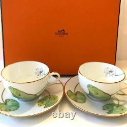 HERMES Porcelain Nile Tea Cup Saucer Tableware 2 set Floral Green Lotus Ornament