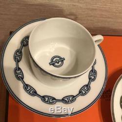 HERMES Porcelain Tea Cup Saucer Chaine d'ancre Blue Dinnerware set Ornament F/S